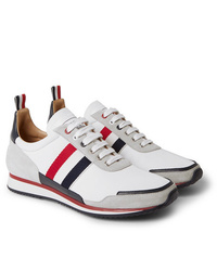 Thom Browne Grosgrain And Suede Trimmed Nylon Sneakers