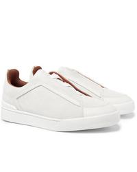Ermenegildo Zegna Leather Trimmed Nubuck Sneakers
