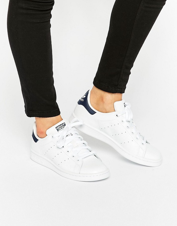 size 40 0f277 0b538 £72, adidas Originals White And Navy Stan Smith Sneakers