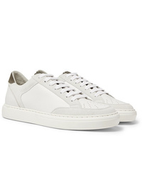Brunello Cucinelli Suede And Corduroy Trimmed Leather Sneakers