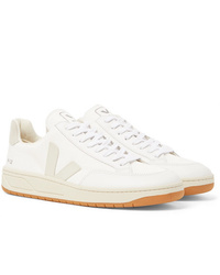 Veja V 12 Leather And Rubber Trimmed Suede And B Mesh Sneakers