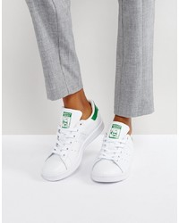 adidas Originals White And Green Stan Smith Trainers