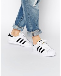 adidas Originals White Black Trainers Black