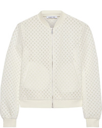 White Mesh Bomber Jacket