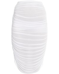 Norma Kamali Shirred Ruched Midi Skirt