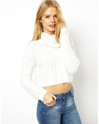 Collection cropped roll neck sweater in fluffy cable yarn medium 21445