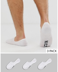 Nicce London Nicce 3 Pack Invisible Socks In White