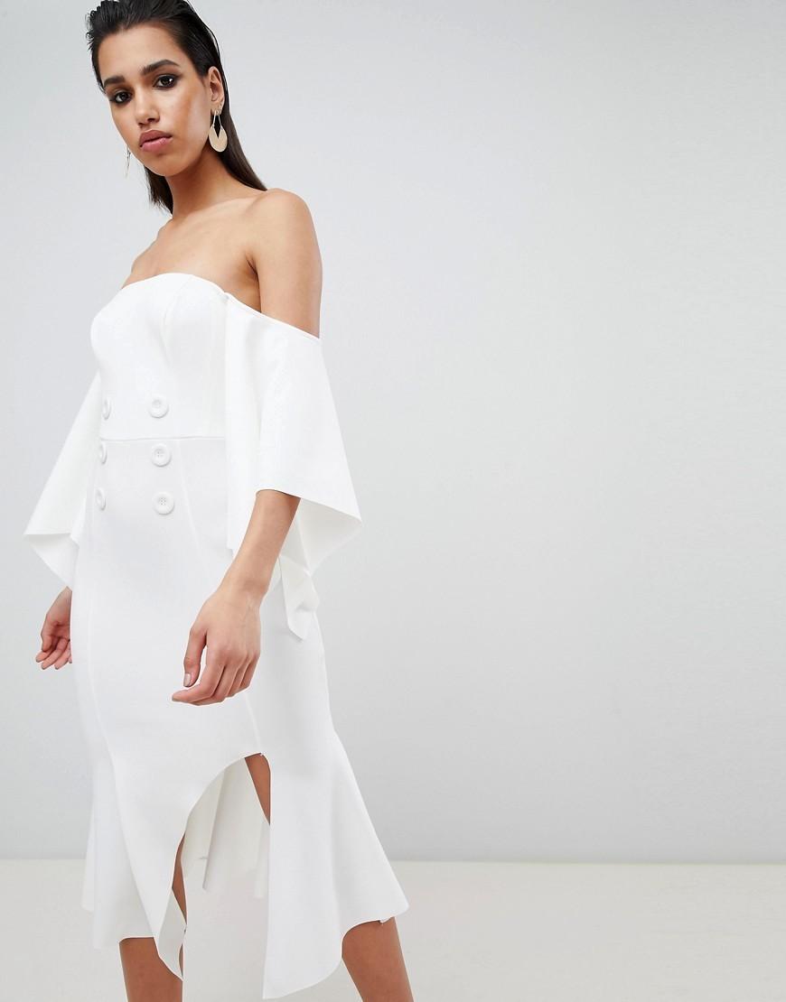 73adcfec064 ... Off Shoulder Dresses ASOS DESIGN Bandeau Kimono Sleeve Midi Dress With  Tux Button Detail