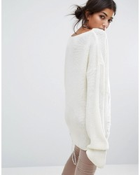 ... Bones Oversized Knit Sweater With Distressed Threading On Side ... 81718876b