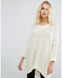 Deep v neck oversize knit sweater medium 1316409