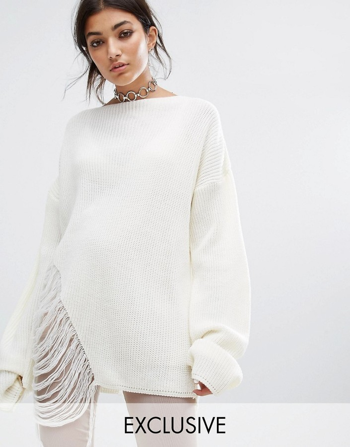 Populair Bones Oversized Knit Sweater With Distressed Threading On Side &VG01