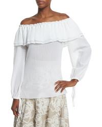 Michael Kors Michl Kors Collection Off Shoulder Cotton Peasant Blouse Optic White
