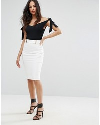 Lipsy Faux Leather Trim Pencil Skirt With Gold Detail