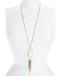 Kendra Scott Rayne Stone Tassel Pendant Necklace White Mother Of Pearl