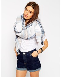 Collection oversized square scarf in blue check medium 165121