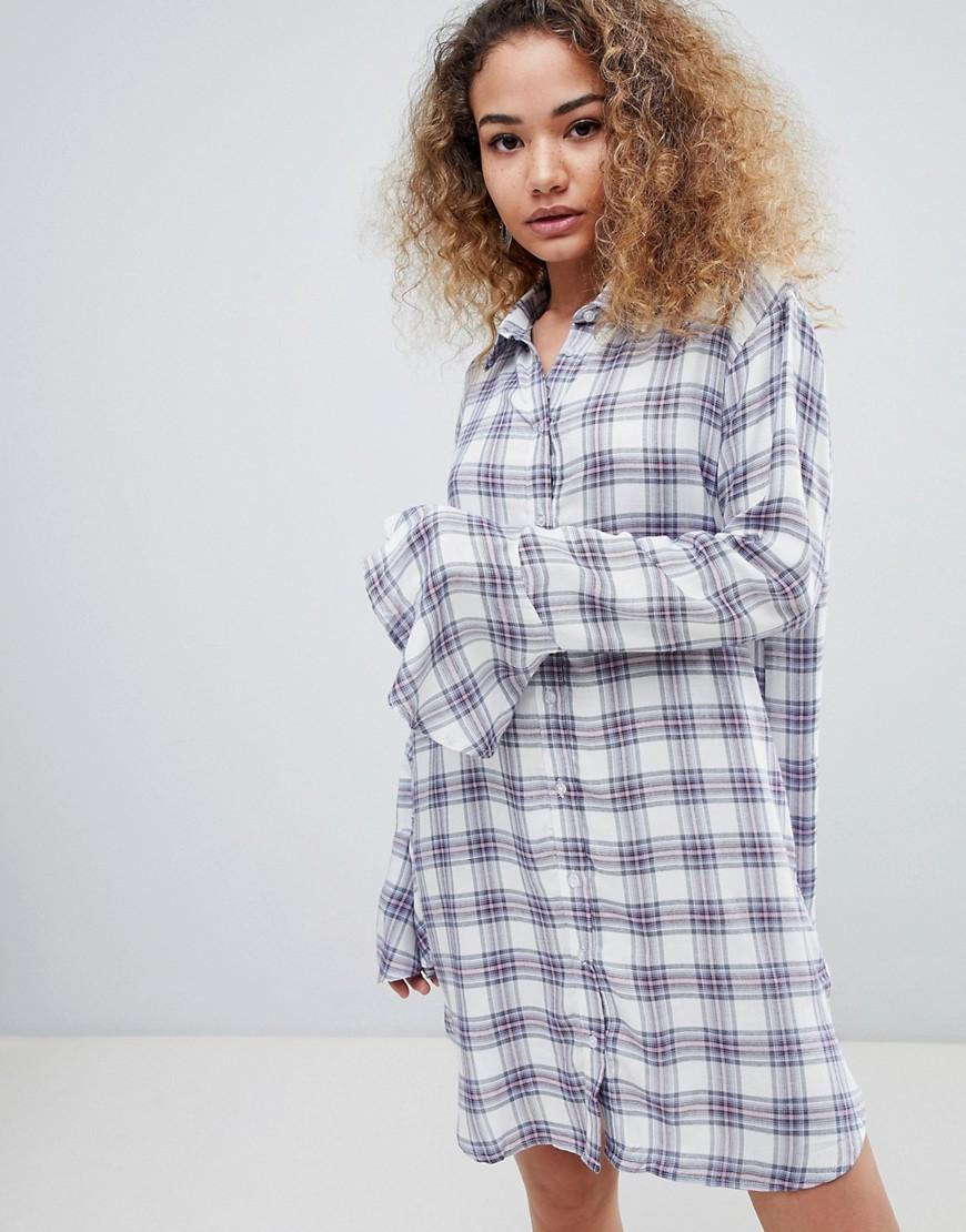 En Creme Long Sleeve Check Shirt Dress