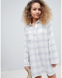 En Creme Long Sleeved Check Print Shirt Dress