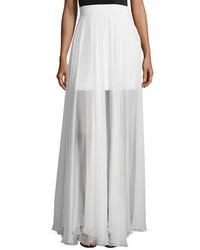 Milly Flowy Silk Maxi Skirt W Front Slit
