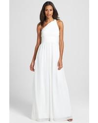 Rachel ruched one shoulder chiffon gown medium 133452