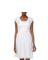 White Pleated Lace Casual Dress