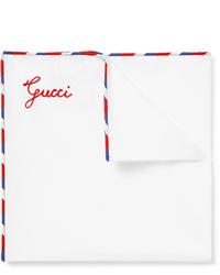 Gucci Stripe Trimmed Cotton Pocket Square