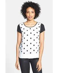White Polka Dot Crew-neck T-shirt