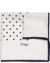 Drakes polka dot silk pocket square medium 159244