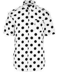 White Polka Dot Short Sleeve Shirt