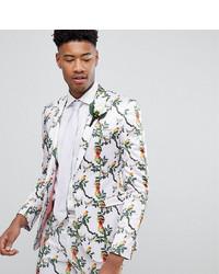 ASOS DESIGN Asos Tall Super Skinny Blazer With Pink Bird Print