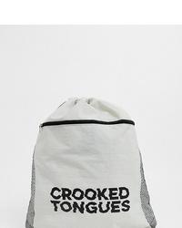 Crooked Tongues Unisex Logo Drawstring Bag In White