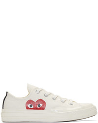 White Print Canvas Low Top Sneakers