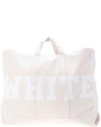 White Print Canvas Tote Bag