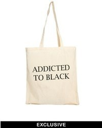 Reclaimed Vintage Addicted To Black Canvas Tote Bag Beige