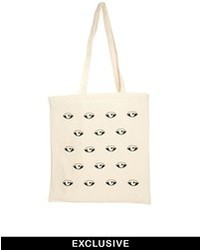 Reclaimed Vintage Eyes Canvas Tote Bag Beige