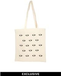 Eyes canvas tote bag beige medium 45711