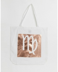 ASOS DESIGN Large Cotton Shopper In Personalised Star Sign Print