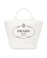 Prada Med Printed Cotton Canvas Tote