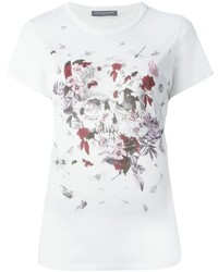 Alexander McQueen Floral Insect Skull Print T Shirt
