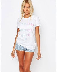 Kiss Tell Boyfriend T Shirt With Glitter Is My Favorite Color Print