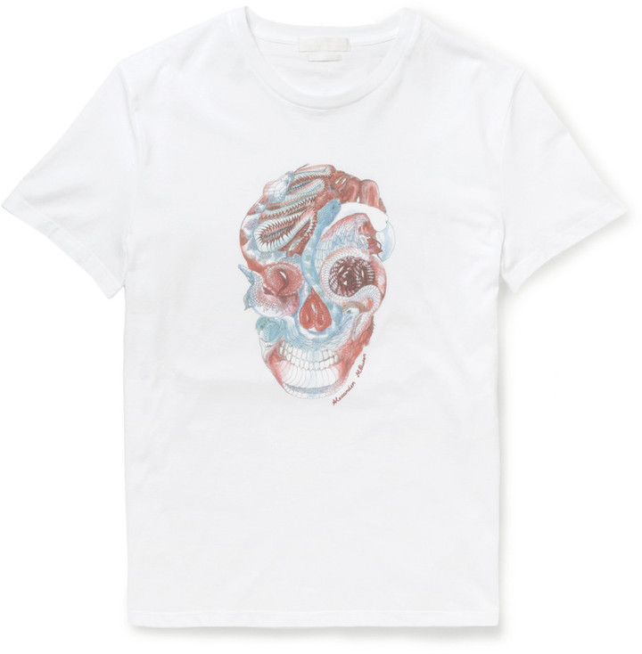 Great Deals Cheap Online Cheap Sale 100% Authentic skull print T-shirt - White Alexander McQueen Sale Shop Best Clearance Cheap Real AA4joQCP1