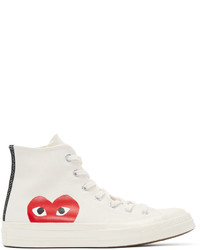 White Print High Top Sneakers
