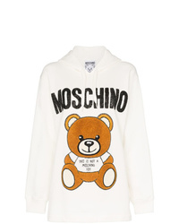 Moschino Bear Logo Bead Embellished Cotton Hoodie