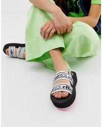 Ellesse Giglio Logo Py Chunky Flatform Sandals In Black