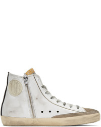 White Print Leather High Top Sneakers