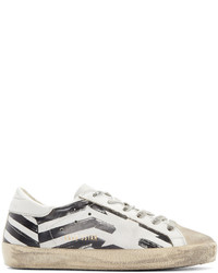 White Print Leather Low Top Sneakers