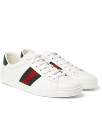 Gucci Ace Crocodile Trimmed Leather Sneakers