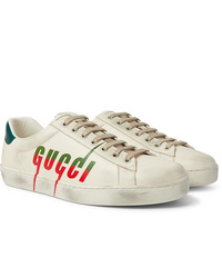 Gucci Ace Distressed Leather Sneakers