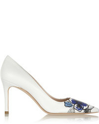 White Print Leather Pumps