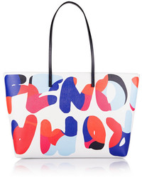White Print Leather Tote Bag