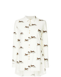White Print Linen Dress Shirt